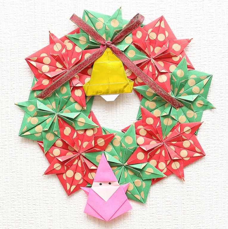 おりがみで可愛いクリスマスリースを作ろうクリスマスパーティの